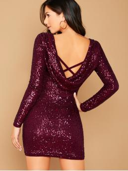 Glamorous Bodycon Pencil Slim Fit Round Neck Long Sleeve Regular Sleeve Natural Burgundy Mini Length Draped Back Long Sleeve Sequin Mini Dress with Lining