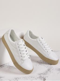 Comfort Round Toe White Lace-up Front Low Top Sneakers