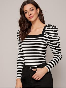 Elegant Striped Slim Fit Square Neck Long Sleeve Leg-of-mutton Sleeve Pullovers Black and White Regular Length Square Neck Gigot Sleeve Rib-knit Striped Tee
