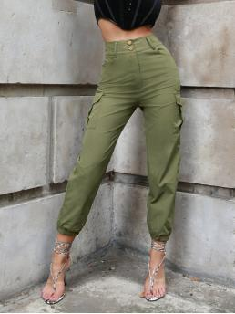 Army Green High Waist Zipper Cargo Pants Flap Pocket Side Solid Cargo Pants Beautiful