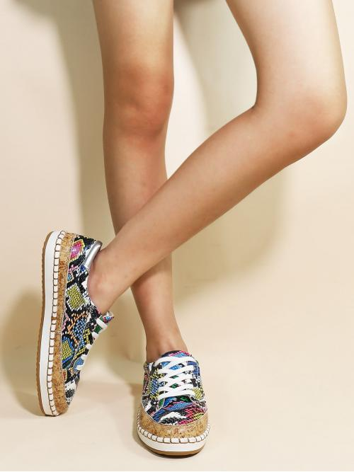 Other Snakeskin Print Lace Up Multicolor Lace-up Front Snakeskin Sneakers