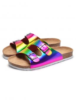 Fashion Multicolor Footbedsandals Buckle Flat Decor Footbed Sandals