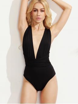 Sexy Plain Deep V Neck Sleeveless Black Multiway Plunging Cross Wrap Bodysuit