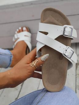 White Footbedsandals Buckle Flat Minimalist Decor Footbed Sandals Discount