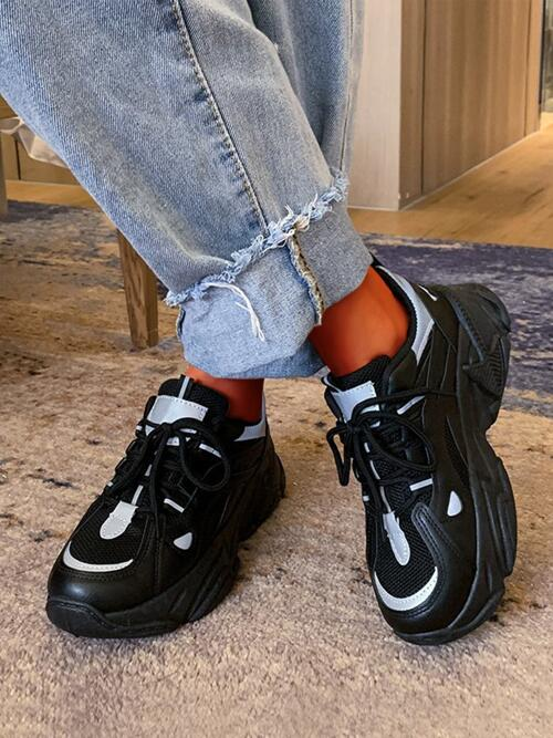 Black Chunky Trainers Low-top Mesh Front Chunky Sneakers on Sale