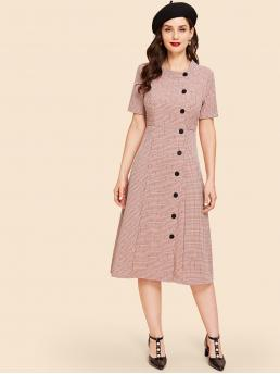 Vintage A Line Plaid Straight Regular Fit Stand Collar Short Sleeve High Waist Pink Long Length Fit And Flare Button Up Plaid Dress