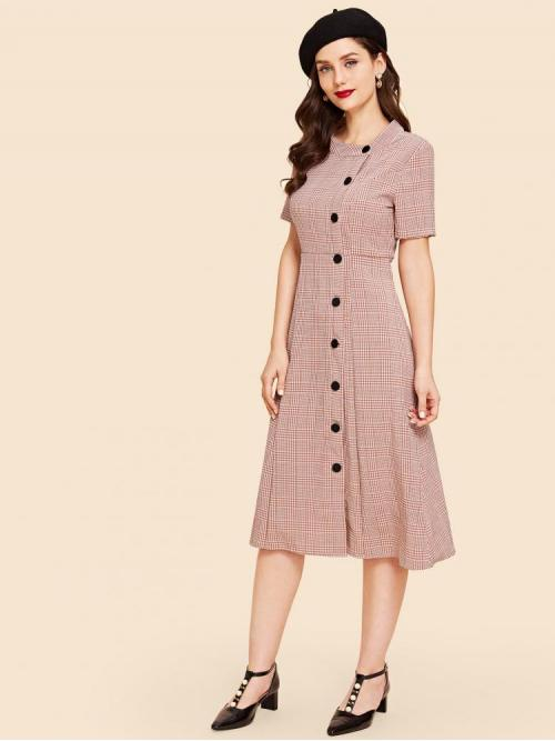 Cheap Pink Plaid Button Stand Collar Fit and Flare up Dress