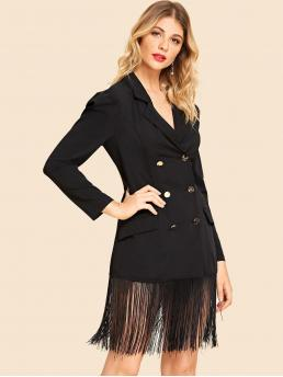 Elegant Dress Plain Long Sleeve Black Fringe Hem Double Button Notched Dress