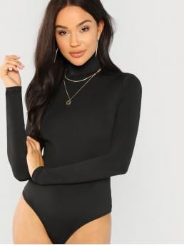 Long Sleeve Cami Contrast Lace Modal Mock Neck Bodysuit on Sale