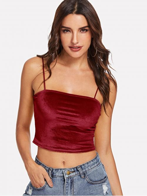 Beautiful Short Sleeve Cami Criss Cross Velvet Open Back Top