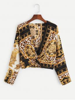 Beautiful Long Sleeve Top Twist Polyester Scarf Print Plunge Blouse