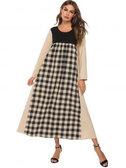 Modest A Line Gingham Flared Loose Round Neck Long Sleeve Regular Sleeve High Waist Multicolor Long Length Cut And Sew Gingham Longline Dress