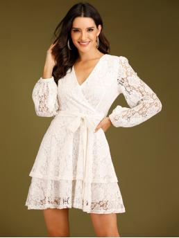 Romantic A Line Plain Layered/Tiered Regular Fit V neck Long Sleeve High Waist White Short Length Guipure Lace Surplice Front Belted Dress with Belt with Lining
