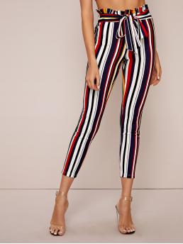 Casual Striped Skinny Skinny Elastic Waist High Waist Multicolor Cropped Length Paperbag Waist Self Belted Striped Skinny Pants with Belt
