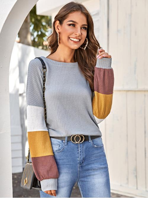 Casual Colorblock Oversized Round Neck Long Sleeve Regular Sleeve Pullovers Grey Regular Length Colorblock Waffle Knit Sweater