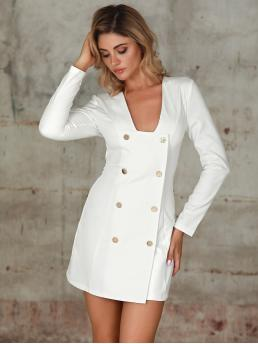 Elegant Fitted Plain Straight Regular Fit Square Neck Long Sleeve Regular Sleeve Natural White Short Length Double Crazy Double Button Zip Back Dress