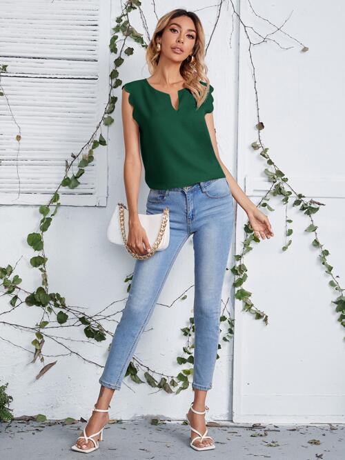 Sleeveless Top Scallop Polyester Neck Trim Top Sale