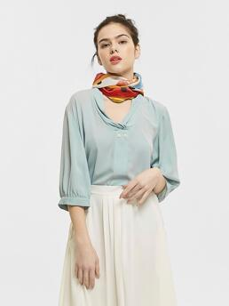 Three Quarter Length Sleeve Top Ruched Polyester Double Detail Blouse Without Scarf Trending now
