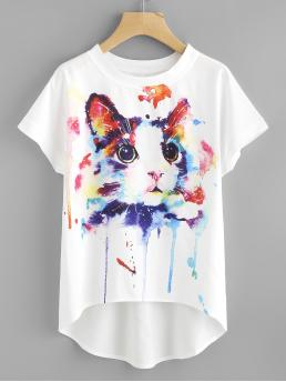 Casual Tie Dye and Animal Top Regular Fit Round Neck Short Sleeve Multicolor Watercolor Cat Print Batwing Sleeve Dip Hem Top