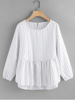 Striped Peplum Regular Fit Round Neck Long Sleeve Black and White Frill Hem High Low Pinstriped Blouse