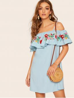 Boho Cami Loose Spaghetti Strap Short Sleeve Natural Blue Short Length Floral Embroidery Ruffle Trim Cami Dress