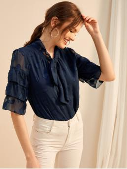 Elegant Top Regular Fit Half Sleeve Pullovers Navy Regular Length Layered Sleeve Tie Neck Embroidered Blouse with Lining