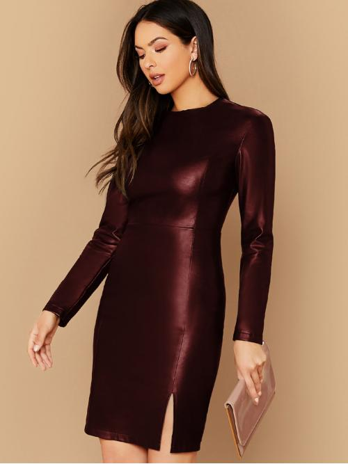 Glamorous Bodycon Plain Pencil Slim Fit Round Neck Long Sleeve Regular Sleeve High Waist Burgundy Short Length Split Thigh Faux Leather Bodycon Dress