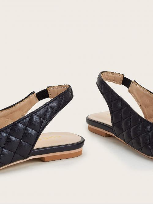 Rayon Black Flared Ruffle Hem Quilted Slingback Flats Trending now