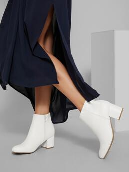 Sale White Classic Boots Mid Heel Chunky Faux Leather Zip-up Ankle Block Booties