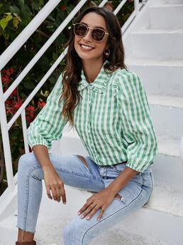 Shopping Three Quarter Length Sleeve Shirt Button Front Polyester Trim Blouse