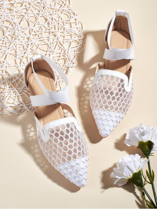 Fashion White Ballet Hollow Point Toe Fishnet Detail Flats