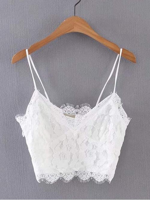 Sexy Cami Plain Slim Fit Spaghetti Strap White Crop Length Lace Crop Cami Top