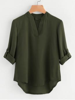 Casual Plain Top Regular Fit Stand Collar and V neck Long Sleeve Roll Up Sleeve Army Green Roll-Up Sleeve Dip Hem Blouse