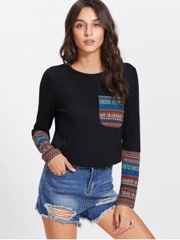 Casual Colorblock and Tribal Regular Fit Round Neck Long Sleeve Black Tribal Print Pocket And Cuff Top