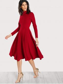 Elegant A Line Plain Fit and Flare Flared Stand Collar Long Sleeve High Waist Red Long Length Mock Neck Button Keyhole Back Flare Dress