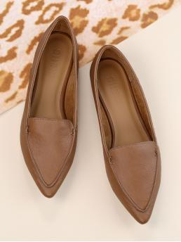 Shopping Corduroy Mocha Brown Loafers Zipper Pu Stitch Pointy Flats
