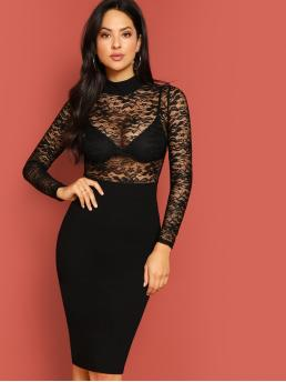 Glamorous and Sexy Bodycon Plain Pencil Slim Fit Stand Collar Long Sleeve Regular Sleeve High Waist Black Midi Length Mock Neck Lace Top Slit Dress Without Bra