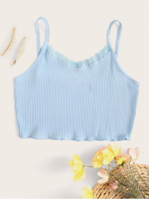 Casual Cami Plain Slim Fit Spaghetti Strap Blue Crop Length Contrast Lace Ribbed Cami Top