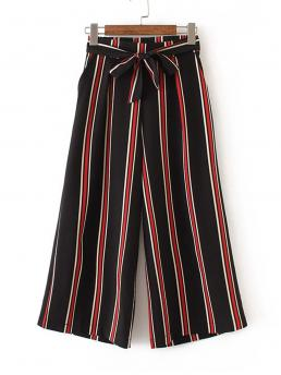 Casual Striped Wide Leg Loose High Waist Multicolor Capris Length Belted Striped Wide Leg Pants with Belt