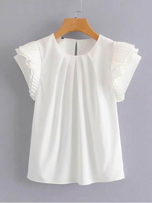 Casual Plain Top Regular Fit Round Neck Short Sleeve Butterfly Sleeve Pullovers White Regular Length Pleated Sleeve Keyhole Back Solid Blouse
