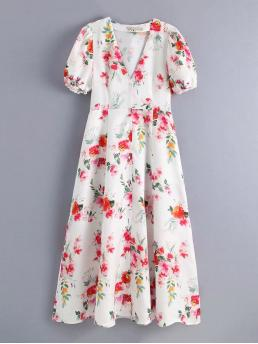 Casual A Line Floral Loose V neck Short Sleeve High Waist White Long Length Floral Print Button Front Dress