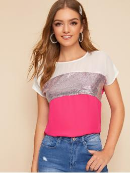 Ladies Short Sleeve Top Contrast Sequin Polyester Cut and Sew Top