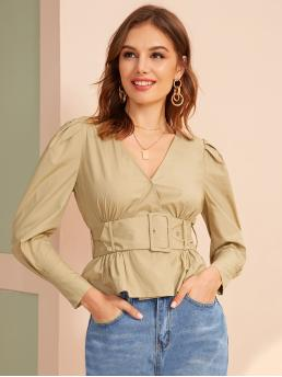 Casual Plain Flared Shirt Regular Fit V neck Long Sleeve Puff Sleeve Placket Khaki Regular Length Surplice Wrap Belted Pleated Top with Belt