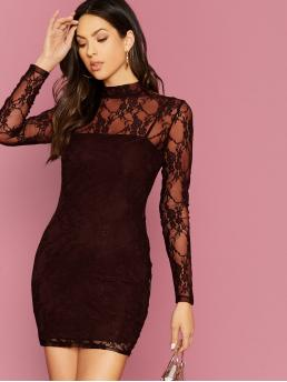 Sexy Bodycon Plain Pencil Slim Fit Stand Collar Long Sleeve Regular Sleeve Natural Burgundy Short Length Mock-neck Form Fitted Lace Dress Without Cami