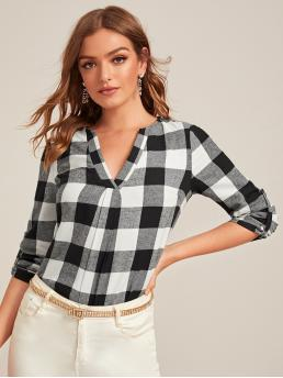 Preppy Gingham Asymmetrical Top Regular Fit Notched Long Sleeve Roll Up Sleeve Pullovers Black and White Regular Length V-cut Neck Roll Tab Sleeve Gingham Top