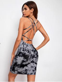 Trending now Multicolor Tie Dye Criss Cross Spaghetti Strap Strappy Backless Slip Dress