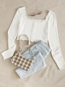 Affordable Long Sleeve Button Front Cotton Plain Buttoned Front Top