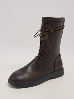 Affordable Brown Low Heel Chunky Round Toe Lace-up Front Ankle Boots