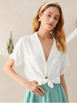Ladies Short Sleeve Shirt Button Front Rayon Rolled Cuff Patch Pocket Blouse