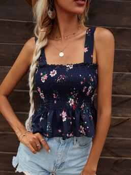 Women's Cami Shirred Polyester Floral Detail Top
